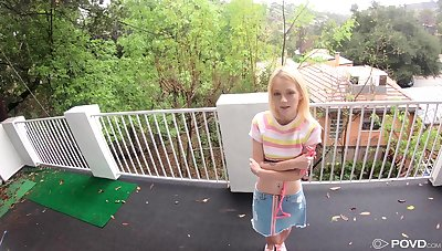 Submissive petite blonde teen Kate Bloom missionary fucked on a leash