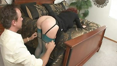 Redhead MILF sucks and rides fat cock in amateur action