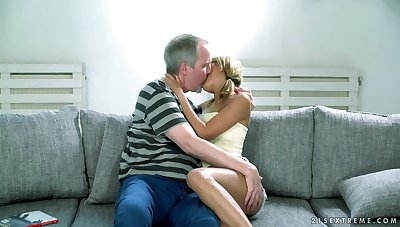 Well done blond babe Sarah Cute gets her pussy licked with the addition of fucked hard by old man