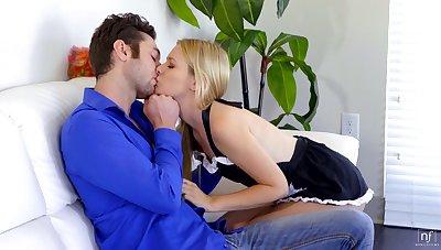 Licentious babe in sexy maid uniform Kennedy Kressler is polishing boyfriend's dick