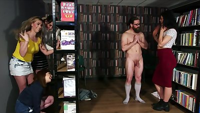Workroom Ambush - cfnm group femdom orgy with facial cumshot
