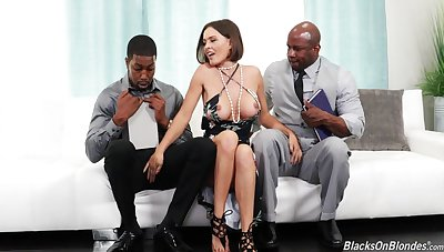 Hot single mom Krissy Lynn swallows two black cocks coupled with gets her anus fucked