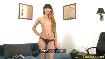 Amateur babe stripteases during a casting and gets fucked deep