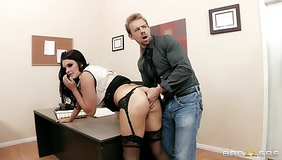 Office laddie Mackenzee Pierce alongside stockings fucked by two dicks