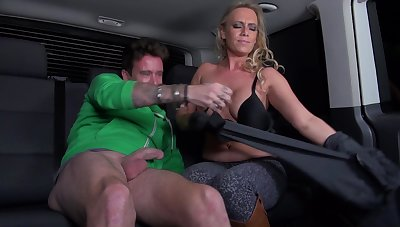 Sexy MILF with big confidential gets fucked in a roomy van