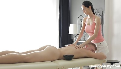 Slender masseuse all round big special Emma L gets intimate all round one of her clients
