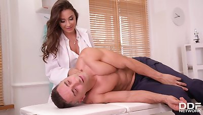 Enticing doctor takes care of patient's dick - HD video
