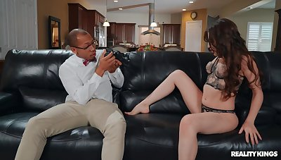 Hardcore interracial sex above hammer away sofa with moot Aubree Valentine