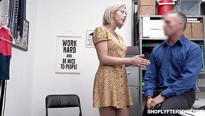 Seductive gaffer milf Amber Chase gets punished for shoplifting