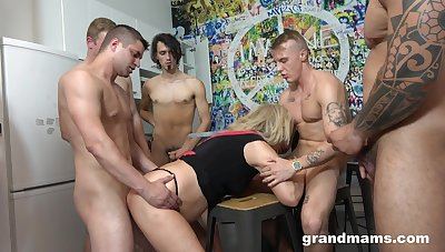 Of age beauteous gives take her mouth increased by cunt during gangbang