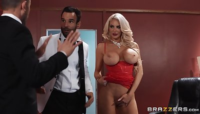 Cougar deals both these men nearly a serious anal threesome