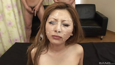 Herculean facial for the young Asian after will not hear of prime gangbang