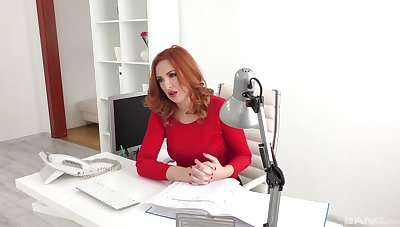 Red-haired office girl Eva Berger engages down hot extracurricular activities