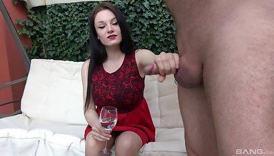 Handsome brunette chick takes an older man's gumshoe in the brush hands