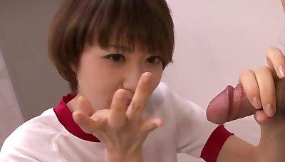 Asian schoolgirl is socking a blowjob to her professor