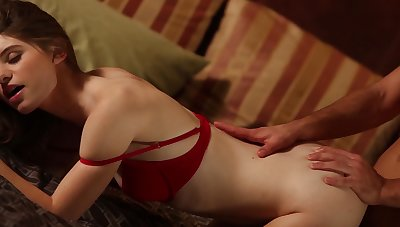 Looker in red bra gets fucked nicely and slowly by her suitor