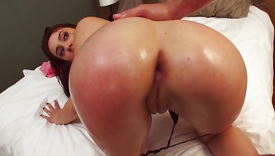 A doll is rammed anally in a catch reverse cowgirl position