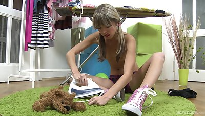 Skinny teen shows off toying her shaved cunt like a slut