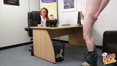 Dilettante bonking in chum around with annoy office with cock hungry redhead Billie Rai