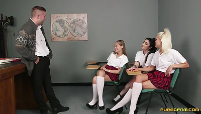 Full pleasure be advantageous to these clothes schoolgirls during CFNM with their teacher