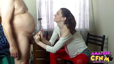 Amateur video of a chubby dude getting pleasured by Brianna Benz